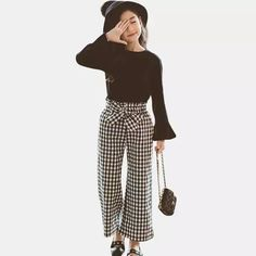 Girls Clothes 2019 Clothing For Girls 12 Years Kids Clothes Girls 8 to 12 Years Teen Clothes Solid Shirt + Striped Pants 2 Pcs , Girls Summer Outfits, Teen Girl Outfits, Dresses Kids Girl, Outfits For Teens, Cute Outfits, Fashion Kids, Girl Fashion, Fashion Outfits, Fashion Pants