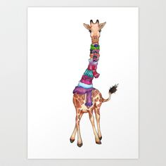 Buy Cold Outside - cute giraffe illustration by Perrin Le Feuvre as a high quality Art Print. Worldwide shipping available at Society6.com. Just one of…