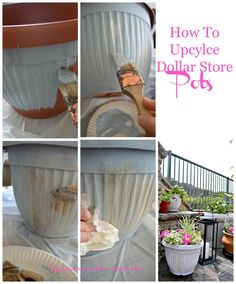 Måla plastkrukorna  med chalkpaint .... Jag ska prova blanda gips och utefärg Testa (Maggi)⚠   [How to Upcycle Dollar Store Pots