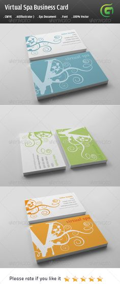 Virtual Spa Business Card #GraphicRiver Description: The Business card includes high quality print ready corporate templates in ai and eps format with font file used is included in the help file. Features : 100% vector (re-sizable). Color mode: CMYK. AI file (for Illustrator CS or higher). EPS file (for Illustrator / Corel Draw / Freehand). Print ready. Help document with download link of the font used. Stationary Pack Includes : Business Card (3.5×2) Three colors variation Blue Green Orange…