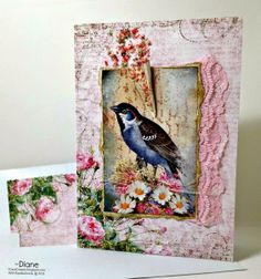 1CardCreator: Sweetly Singing using a combination of  Gecko Galz Floral Symphony paper and Vintage by Me  for the bird image.