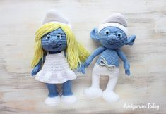 Let your mind wander into the fancy world of the Smurfs with this super soft crochet Smurfette! Use our free Smurfette Amigurumi Pattern to create the lovely toy for your little ones :) Crochet Amigurumi Free Patterns, Crochet Dolls, Amigurumi Tutorial, Cute Crochet, Crochet Baby, Crochet Mignon, Smurfette, Amigurumi Doll, Amigurumi Minta
