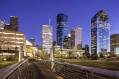 Sabine To Bagby Promenade Skyline http://mabrycampbell.com #image #photo #photography #houston #mabrycampbell #skyline #promenade #architecture #buildings #downtown #bridge #bluehour #texas