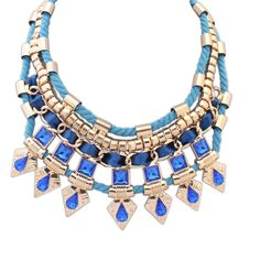 Fashion Statement Necklace, Wool, with Zinc Alloy & Acrylic, with 5cm extender chain, real gold plated