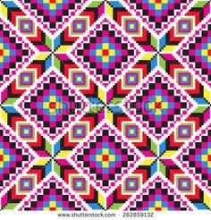Vector illustration of ukrainian folk seamless pattern ornament. Tapestry Crochet Patterns, Bead Embroidery Patterns, Loom Patterns, Beading Patterns, Quilt Patterns, Graph Paper Drawings, Graph Paper Art, Blackwork Embroidery, Cross Stitch Embroidery