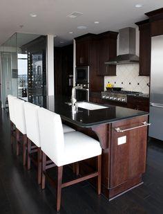Gorgeous Artisan Stone Collection black granite countertops fabricated by Atlanta Kitchen.