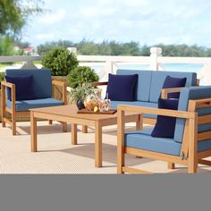 Beachcrest Home Crocett 4 Piece Sofa Seating Group with Cushions Color: Natural/Navy / Blue/White Outdoor Furniture Sets, Patio Chairs, Beachcrest Home, Patio Sofa, Conversation Set Patio, Sofa Set, Outdoor Living Areas, Teak Sofa, Patio Dining Set