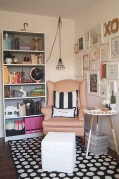 Grab a chair, a pillow, and a table from elsewhere in your home and make a reading corner.