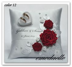 * Personalized! wedding ring cushion pillow with rings holder box 30 color !,.. | eBay
