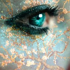 Eye art - Asian tree and green eye Pretty Eyes, Beautiful Eyes, Beautiful Pictures, Gif Kunst, Almond Blossom, Cherry Blossom, Look Into My Eyes, Eye Art, Green Eyes