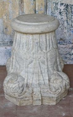 Antique Marble Pillar Base, Udaipur - <b>SOLD<b>