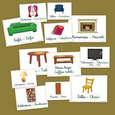 Fichas de vocabulario básico: El salón