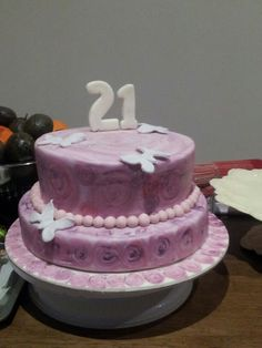 21st painted cake