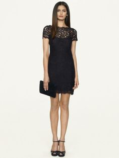 Corded Cotton Lace Dress - Short Dresses
