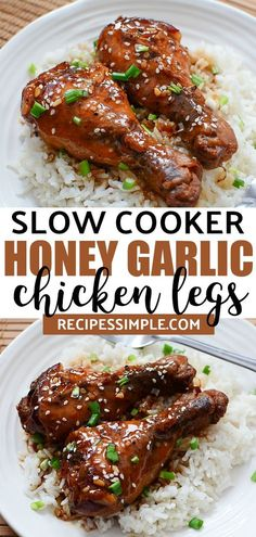 Make this Slow Cooker Honey Garlic Chicken Legs for a delicious dinner. It's perfect for a busy weeknight meal. slowcookerchickenlegs slowcookerchicken slowcookerrecipes chickenrecipes chickenlegrecipes via 45950858685255071 Chicken Leg Slow Cooker, Crockpot Chicken Leg Recipes, Chicken Drumsticks Slow Cooker, Chicken Drumstick Recipes, Slow Cooker Recipes, Cooking Recipes, Vegan Recipes, Crockpot Meals, Recipes For Chicken Legs