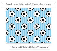 Landscape Baby Blue Striped Large  Soccer Ball Pattern Paper