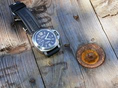 Panerai with tabacco dial on a wooden cable-drum.