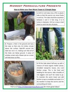 """How-to-Make-Your-Own-Worm-Tower-in-3-Simple-Steps-Drill lots of holes in a pvc pipe. Bury all but 6 inches in garden. Place kitchen scraps in the hole. Worms will come in and eat and then transfer the """"goodies"""" throughout the garden."""