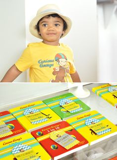 Curious George book party favors with cute tags