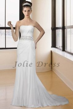 A Slim Strapless Understated Wedding Dress