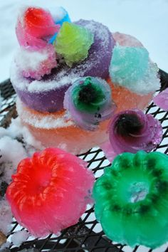 Gorgeous colored ice sculptures Winter activity Outdoor winter activity
