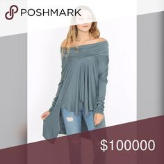 Silver blue asymmetrical hem tunic Amazing silver blue color- this stunning tunic can be worn as a cowl neck or off the shoulder- 2 looks in one💋 Tops Tunics