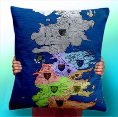 Game of Thrones Map Colour Houses   Cushion by ThisShopReallyRocks, £5.00