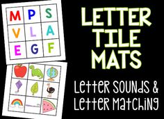 Free printable letter tile mats for teaching kids uppercase and lowercase letter matching and beginning letter sounds.