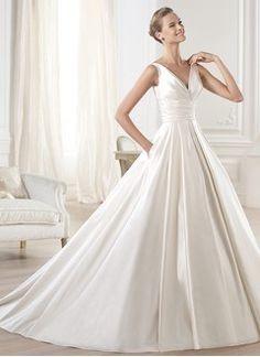 Ball-Gown V-neck Chapel Train Satin Wedding Dress With Ruffle