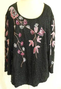Sequins Bugle Beads Flowers Deadstock Nos Tunic Blouse Allure Vintage Plus Size Vintage Clothing, Fashion 2017, Womens Fashion, Fashion Stores, Sequin Jacket, Sequin Party Dress, Couture Outfits, Sporty Chic, Womens Clothing Stores