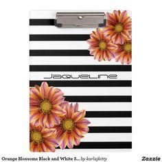 Orange Blossoms Black and White Stripe Clipboard