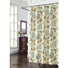 Ruthie Shower Curtain, Blue and Brown, from Walmart!