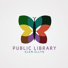 Like how the shape of an open book has been used in this logo design. (This showcases complementary colors like red and green etc. Because this logo combines complementary colors it can also be called a neutral logo. Typography Logo, Logos, Logo Branding, Graphic Design Tools, Graphic Design Branding, Library Logo, Butterfly Logo, Education Logo, School Logo