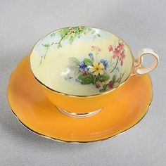 Aynsley Teacup & Saucer - White/ Yellow, Mixed Floral 5 • CAD 24.99