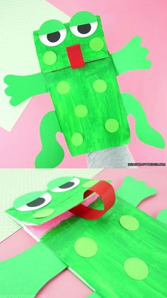 Easy Paper Bag Puppet Craft for Kids - - Preschoolers will have so much fun making and playing with this cute paper bag frog puppet. Grab our free template to make this cute paper bag frog craft. Fox Crafts, Mouse Crafts, Puppet Crafts, Animal Crafts, Frog Crafts Preschool, Frog Activities, Preschool Christmas, Christmas Crafts, Alligator Crafts