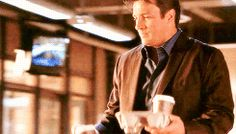 Every time Castle brings Beckett her coffee: It's such a small gesture, but from the very beginning it was a very real, very subtle thing Castle did that showed his affection for Beckett. Each time they head to a crime scene, he's got her taken care of. Castle Abc, Castle Tv Series, Castle Tv Shows, Castle 2009, Best Tv Shows, Best Shows Ever, Favorite Tv Shows, Richard Castle, Movies And Series