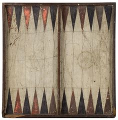 As depicted, a painted board within applied walnut frame...one side displays a red on white within black painted frame checkerboard; the other, black and red on white Parcheesi. There are small frame losses at two corners of the Parcheesi side. (13.5 x 13.5-inches.)