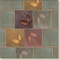 Fay Jones Day Tile, Handmade Accent Tile for Craftsman Bungalows Craftsman Tile, Craftsman Staircase, Craftsman Decor, Craftsman Houses, Craftsman Bathroom, Craftsman Cottage, Art Nouveau Tiles, Art And Craft Design, Craftsman Bungalows
