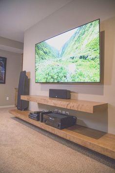 Living Room Decor Cozy, Living Room Shelves, Living Room Tv, Tv Stand Ideas For Living Room, Cozy Living, Dining Room, Floating Shelves Entertainment Center, Living Room Entertainment Center, Entertainment Ideas