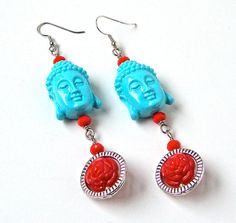 Buddha earrings, rose earrings, turquoise jewelry, long funky earrings, boho gypsy, bohemian jewelry  These long Buddha earrings are so cute