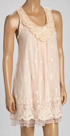 Peach Floral Linen-Blend Sleeveless Dress  Elegance at it's finest