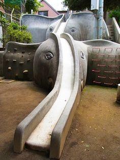 elephant playground, japan. playground design, landscape architecture