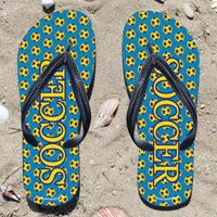 Soccer Word Soccer Ball Pattern on Blue Flip Flops - Kick back after a soccer game with these great flip flops! Fun and functional flip flops for all soccer players and fans.