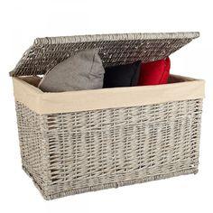Baúl gris de 75x45x46cm. Guarda la ropa de cama, cojines, mantas, etc.