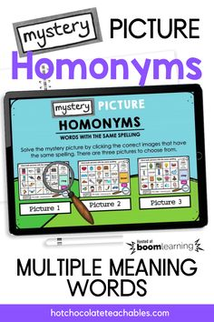 Do your students need practice identifying words with multiple meanings? This digital HOMONYM practice Boom Card™ set is the perfect way English Vocabulary Games, Grammar And Vocabulary, Teacher Must Haves, Multiple Meaning Words, Printable Board Games, English Resources, Classroom Language, Spelling Words, Educational Games