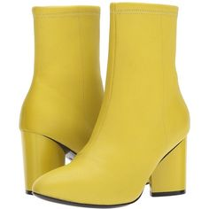 Opening Ceremony Dylan Leather Boot (Acid Green) Women's Boots ($475) ❤ liked on Polyvore featuring shoes, boots, mid-calf boots, leather boots, leather pointed toe boots, pull on leather boots, slip on leather boots and slip-on shoes