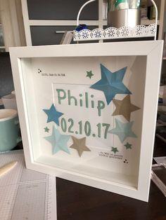 Stempel-Stories: Bilderrahmen für Philip! Stampin' Up, DIY, Ribba, Ikea, Sterne, Geburt