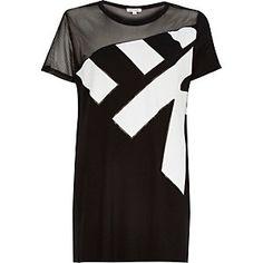 Black mesh panel side split t-shirt