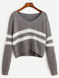 Shop Grey Striped V Neck Crop Sweater online. SheIn offers Grey Striped V Neck Crop Sweater & more to fit your fashionable needs.