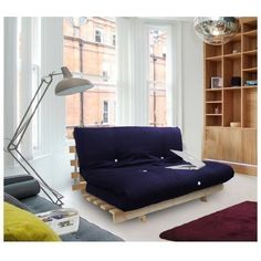 Isfy Triple Bed Futon With Slatted Base And Mattress 3 Seater Navy Blue